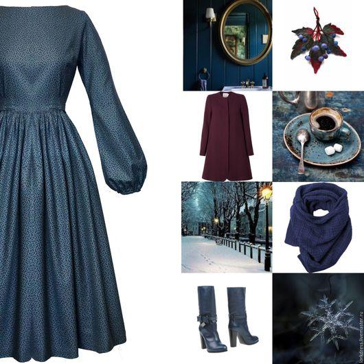 Платья ручной работы. Ярмарка Мастеров - ручная работа. Купить Платье Mist. Handmade. Синий, женственное платье, хлопок 100%