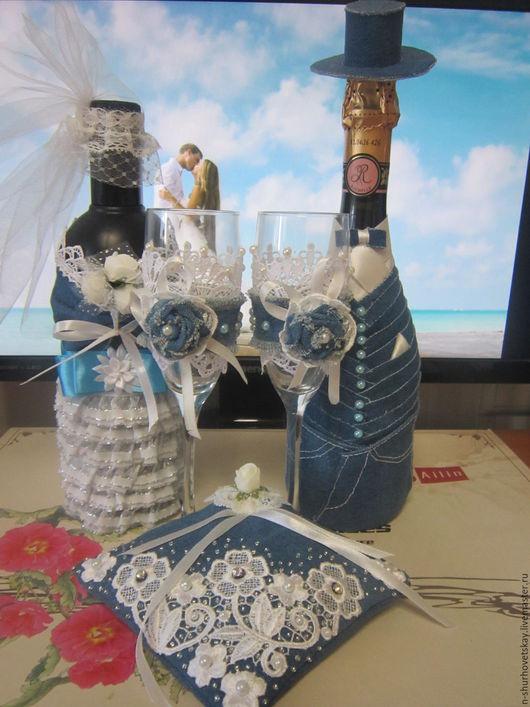 """Свадебные аксессуары ручной работы. Ярмарка Мастеров - ручная работа. Купить Свадебный набор """"Джинсовый стиль"""". Handmade. Синий"""