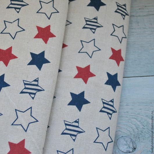 Ткань лен небеленый Звезды 50х50см, 707
