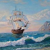 """Картины ручной работы. Ярмарка Мастеров - ручная работа Картина Маслом Море """"Тихая гавань"""" Картина корабль в море. Handmade."""