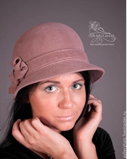 Шляпы ручной работы. Ярмарка Мастеров - ручная работа. Купить шляпа кокетка. Handmade. Шляпка, пепельно-розовый, велюр чехия