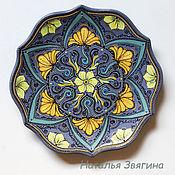 Посуда handmade. Livemaster - original item The interior plate, Yellow flowers. Hand-painted.Gifts for women. Handmade.