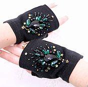 Аксессуары handmade. Livemaster - original item Embroidered mittens gloves Glamorous black decorated crystals mittens. Handmade.