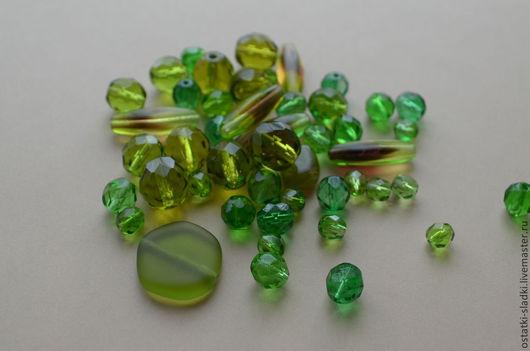 Для украшений ручной работы. Ярмарка Мастеров - ручная работа. Купить 115шт, Зеленый, стеклянный микс, Чехия, зеленый (19). Handmade.