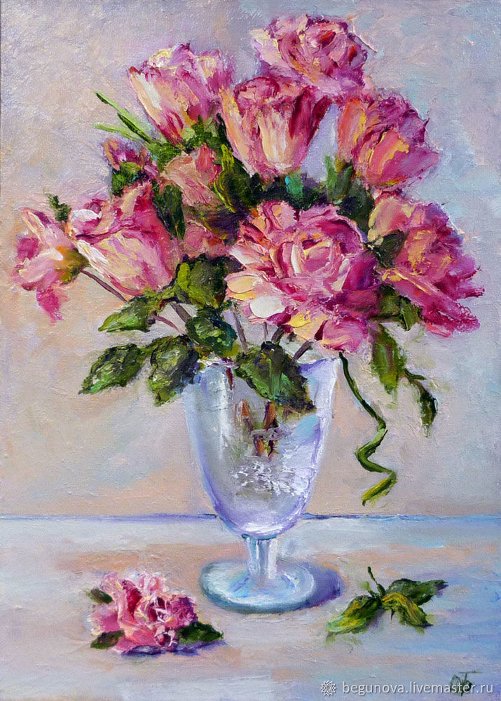Livemaster & Oil painting on canvas Rosesa bouquet of flowers in a vase painting
