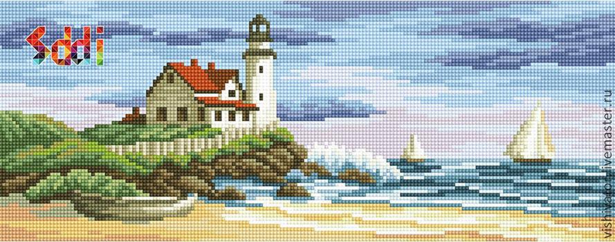 Готовая картина в технике алмазной вышивки – маяк, домик и море