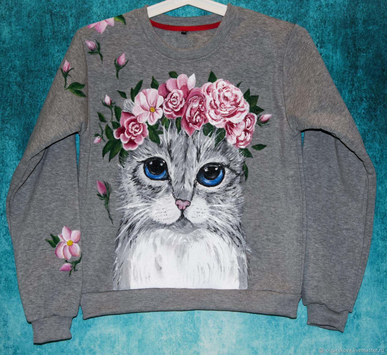 Sweatshirt sweatshirt for girl Cat with flowers hand painted, Sweater Jackets, St. Petersburg,  Фото №1