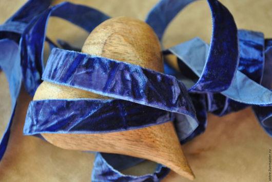 """Шитье ручной работы. Ярмарка Мастеров - ручная работа. Купить Лента плюшевая """"винтажная"""" Синь (Франция). Handmade. Тёмно-синий"""