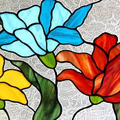 Для дома и интерьера handmade. Livemaster - original item Floral stained glass on the window. Stained Glass Tiffany. Soldered stained glass. Flowers.. Handmade.