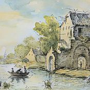 Картины и панно handmade. Livemaster - original item Watercolor ruins of the castle on the Bank of the canal. Handmade.