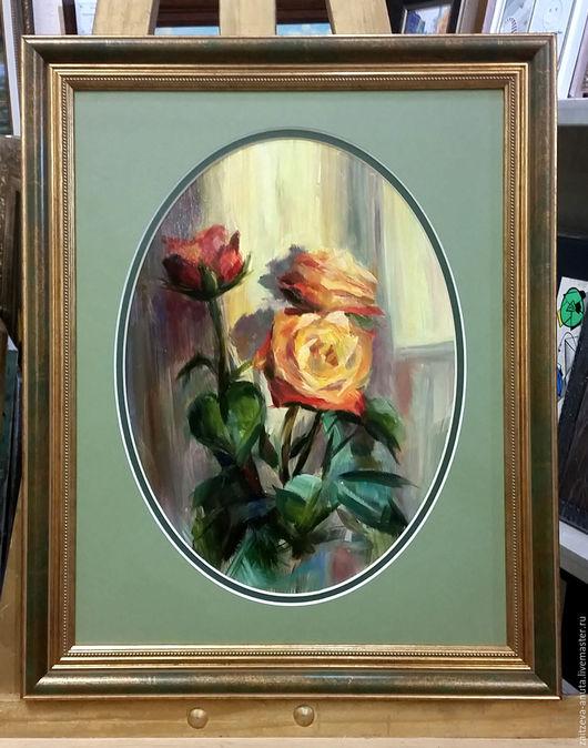 Картины цветов ручной работы. Ярмарка Мастеров - ручная работа. Купить Розы.Вечер. Handmade. Рыжий, розы, закат, масло