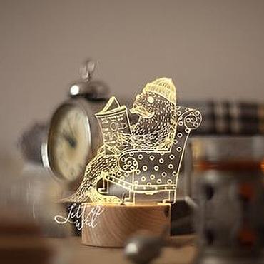 """Для дома и интерьера ручной работы. Ярмарка Мастеров - ручная работа Светильник-ночник """"Морж Хемингуэй"""". Handmade."""