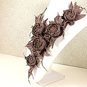 Украшения handmade. Livemaster - original item Dance Of The Roses. Plum. Necklace made of genuine leather.. Handmade.