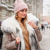 Одежда handmade. Livemaster - original item Beige parka with natural Arctic Fox fur. Handmade.