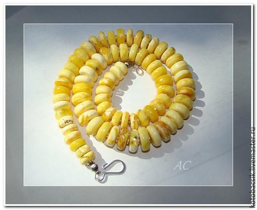 """Колье, бусы ручной работы. Ярмарка Мастеров - ручная работа. Купить Бусы """"Белое озеро"""". Handmade. Желтый"""