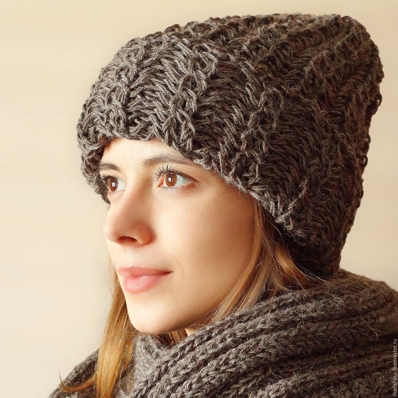 Вязание шапки спицами с отворотом для женщин спицами