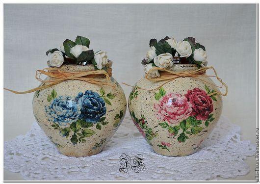 """Кухня ручной работы. Ярмарка Мастеров - ручная работа. Купить Горшочки """"Чайные розы"""". только розовый в наличии. Handmade. Бежевый, подарок"""