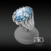 Украшения handmade. Livemaster - original item Ring with large Topaz and CZ. 925 sterling silver.. Handmade.