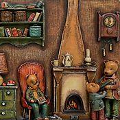 """Картины и панно ручной работы. Ярмарка Мастеров - ручная работа """"У очага"""" миниатюра (папье-маше, дерево). Handmade."""