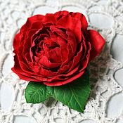 Украшения ручной работы. Ярмарка Мастеров - ручная работа Брошь Красная роза. Handmade.