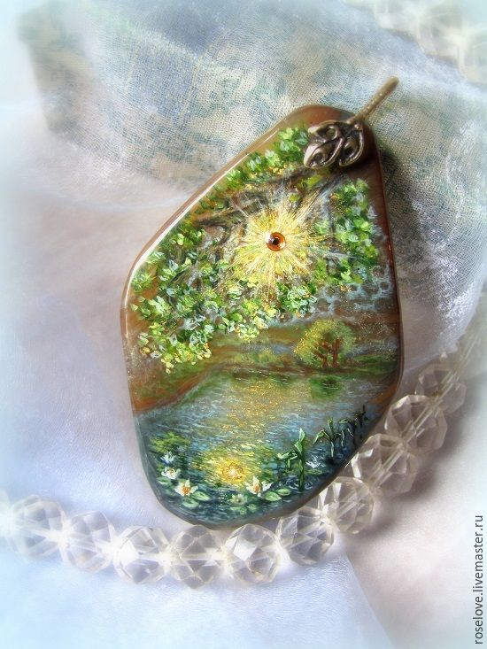 Copy of lacquer miniature,pendant,the painting on the stone, Pendants, Moscow,  Фото №1