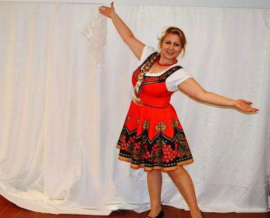 русский сарафан, русский народный костюм, рябинка, хохломская роспись, костюм для выступлений.