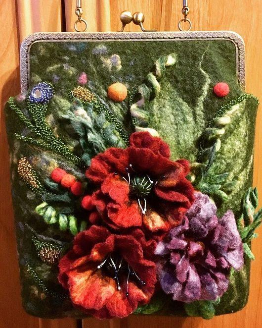 Женские сумки ручной работы. Ярмарка Мастеров - ручная работа. Купить Букет. Handmade. Валяная сумка, ручная авторская работа
