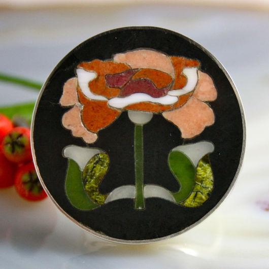 """Кольца ручной работы. Ярмарка Мастеров - ручная работа. Купить Кольцо """"Пион"""" - флорентийская мозаика, серебро. Handmade. роза"""