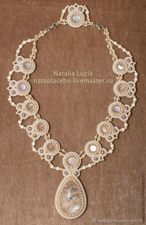 Wedding soutache necklace For princess white beige pearl, Wedding necklace, St. Petersburg,  Фото №1