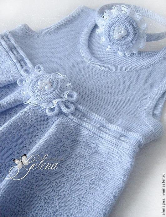 """Одежда для девочек, ручной работы. Ярмарка Мастеров - ручная работа. Купить Сарафан для девочки """"Нежный-снежный"""". Handmade. Голубой"""