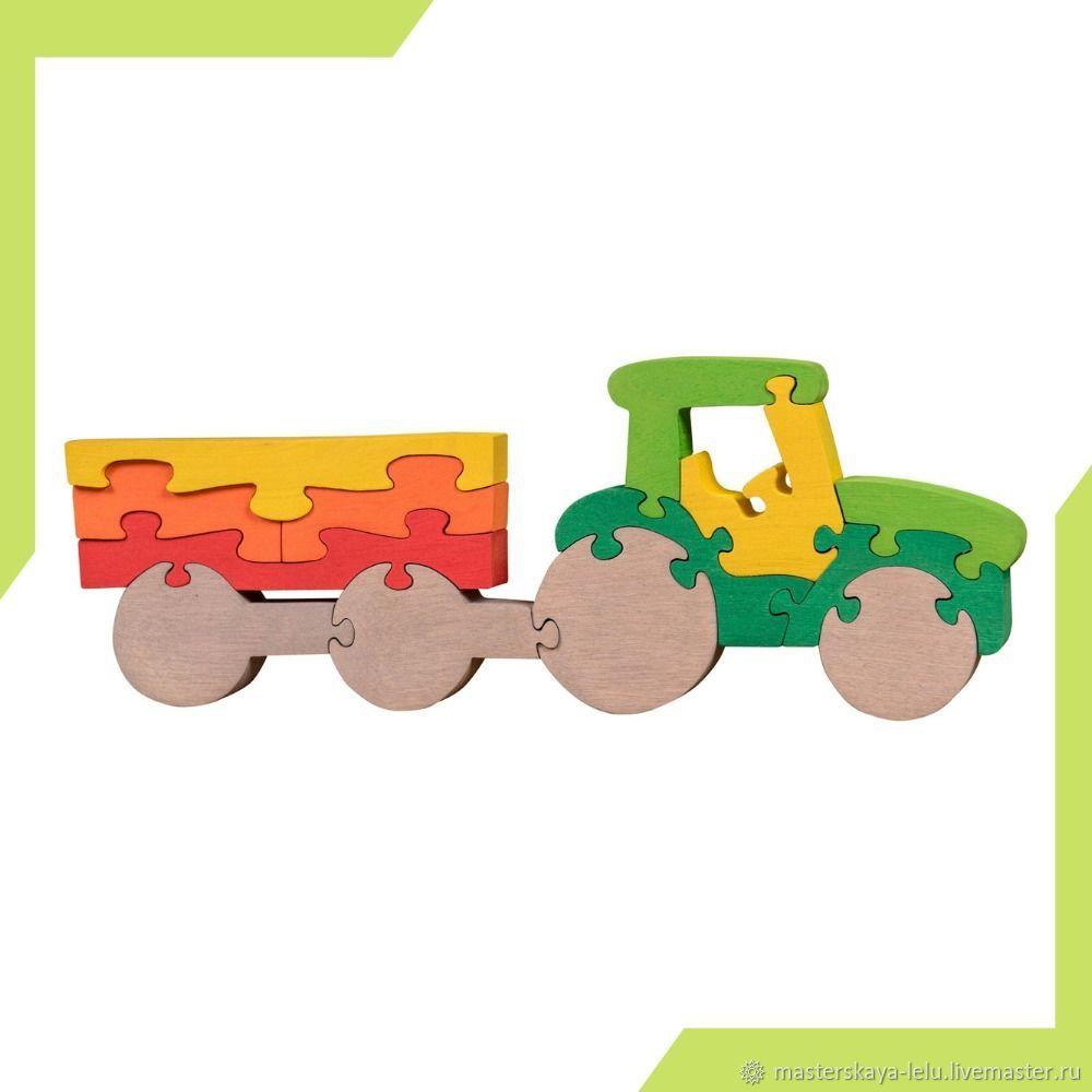 Пазл деревянный Трактор с прицепом, Развивающие игрушки, Петрозаводск, Фото №1