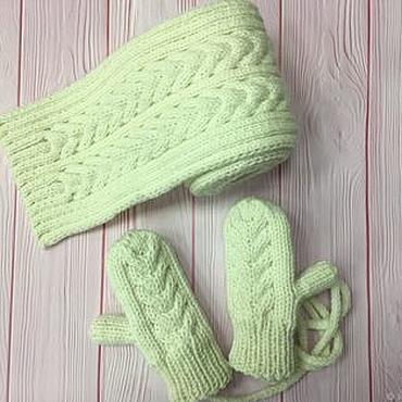 Works for children handmade. Livemaster - original item Winter set, scarf and mittens. Handmade.