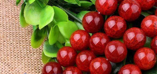 Агат кракле 8-14 мм красный бусины шар гладкий. Бусины агата для колье, агат бусины для браслетов, агат бусина шар для серег.