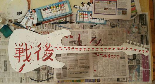 Абстракция ручной работы. Ярмарка Мастеров - ручная работа. Купить Гитара декоративная После войны, белая.. Handmade. Гитара, япония