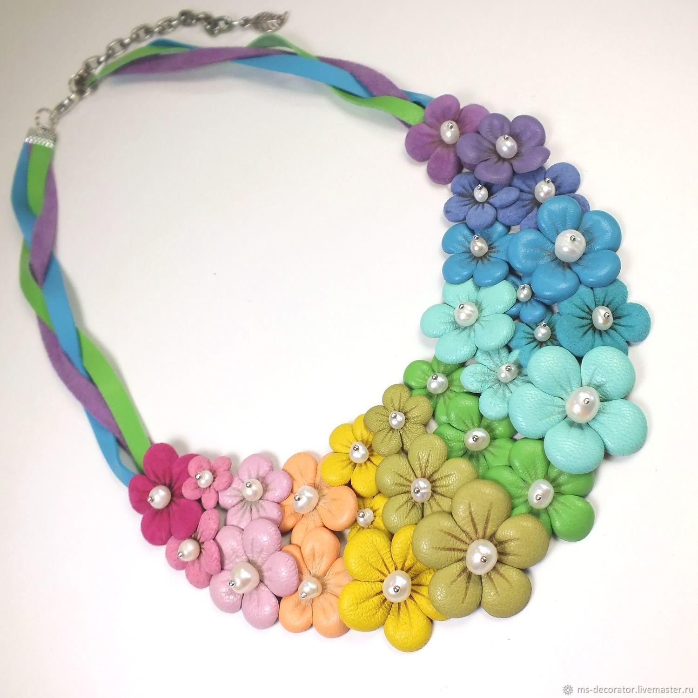 Summer Rainbow Etude Necklace Pearl Flowers Handmade Genuine Leather, Necklace, St. Petersburg,  Фото №1