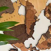 Элементы интерьера ручной работы. Ярмарка Мастеров - ручная работа Одноуровневая карта мира из дерева. Handmade.