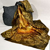 Аксессуары handmade. Livemaster - original item silk scarf batik Chocolate and oranges. Handmade.