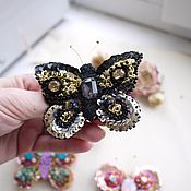 Украшения ручной работы. Ярмарка Мастеров - ручная работа Чёрная бабочка брошь. Handmade.