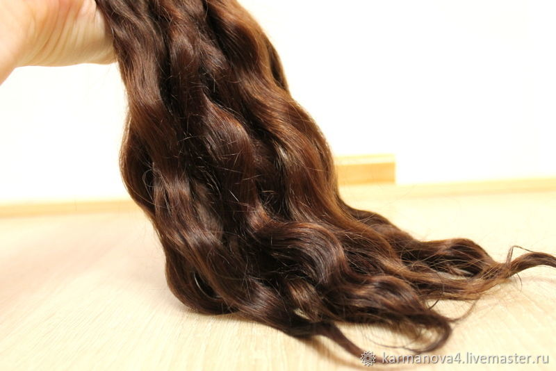 Hair for dolls (chocolate, washed, combed, hand-dyed) Curls Curls for Curls for dolls, dolls to buy Hair for dolls, buy Handmade Fair Masters Puppenhaar
