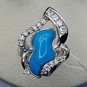 Украшения handmade. Livemaster - original item Silver ring with turquoise and cubic Zirconia. Handmade.