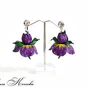 Украшения handmade. Livemaster - original item Floral earrings leather Purple irises. Handmade.