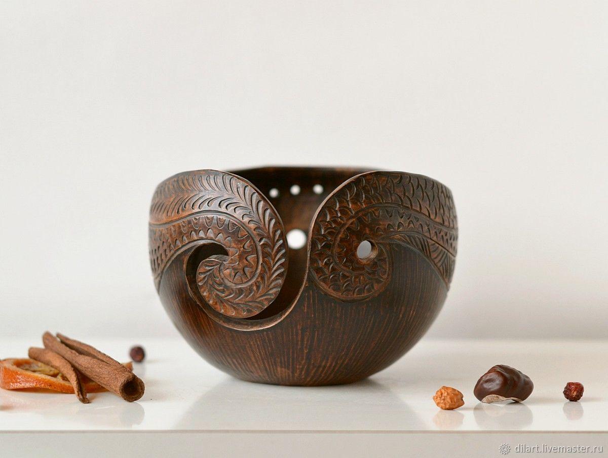 Клубочница чаша для вязания с орнаментом Махагон