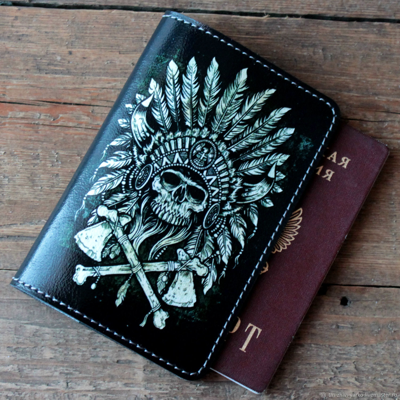 """Обложки ручной работы. Ярмарка Мастеров - ручная работа. Купить Обложка на паспорт """"Воин""""  из натуральной кожи. Handmade. Стимпанк"""