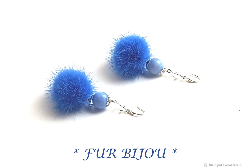 mink fur, blue agates, quartz, Earrings, Moscow,  Фото №1