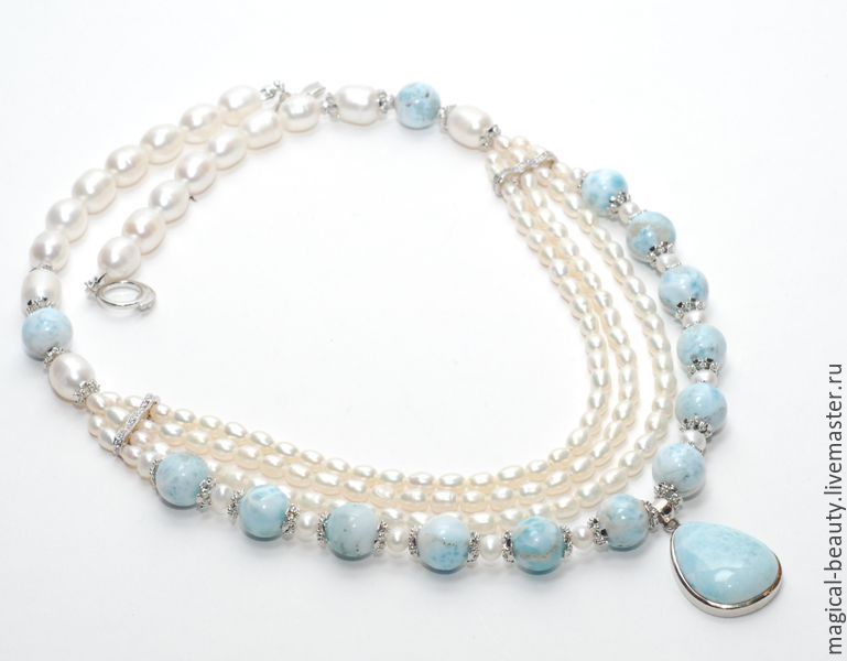 Necklace with larimar 'the Gentle Blues of silence', Necklace, Moscow,  Фото №1