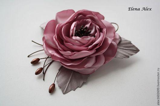 """Цветы ручной работы. Ярмарка Мастеров - ручная работа. Купить Заколка-брошь из ткани """"Шиповник"""". Handmade. Розовый, брошь цветок"""