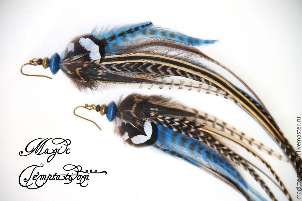 Wild feather earrings Indigo, Earrings, Moscow,  Фото №1