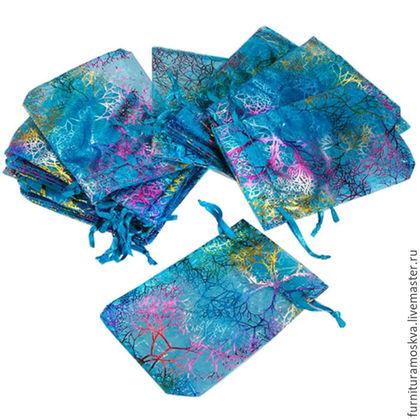 Новый год 2017 ручной работы. Мешочки из органзы с рисунком Кораллы,9х12 см. Камни,швензы,    фурнитура от Елены. Ярмарка Мастеров.