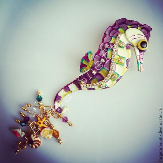 Винтажные украшения. Ярмарка Мастеров - ручная работа. Купить Брошь-кулон морской конек от Lunch at the Ritz. Handmade.