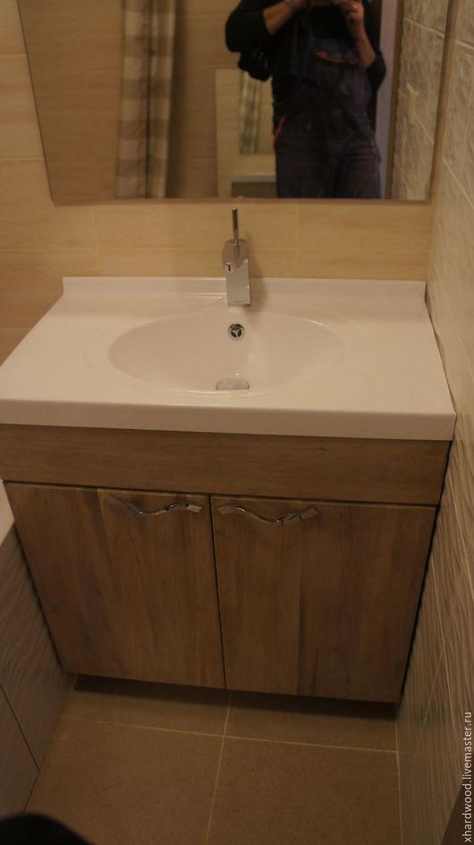 Ванная комната ручной работы. Ярмарка Мастеров - ручная работа. Купить Тумба в ванную комнату (массив дуба). Handmade. Серебряный